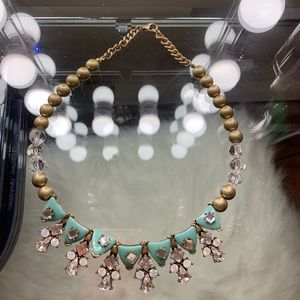 Faux diamond gold turquoise necklace